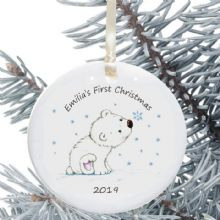 Baby's First Christmas Ceramic Christmas Tree Decoration - Polar Bear Design